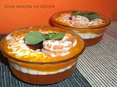 Cinco sentidos na cozinha: Sobremesa de gelatina de tangerina , iogurte grego...