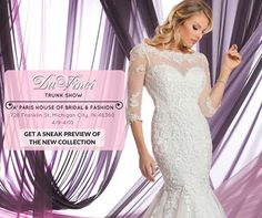 Check out the newest gowns from DaVinci Bridal's New Unreleased Collection of affordable bridal fashion! Here's your chance to get these gowns before they are publicly available! Only available this weekend at Paris House of Bridal located at 728 Franklin St Michigan City. See you there!