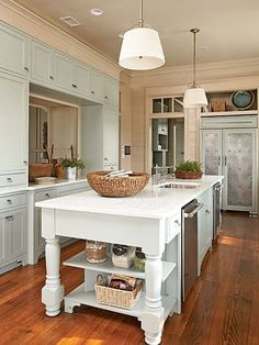 House of Turquoise: Historical Concepts + Tammy Connor. Never thought about putting light blue cabinets with cherry type floors. Home Design, Home Interior Design, Design Ideas, Kitchen Interior, Interior Ideas, Modern Interior, Design Design, Rustic Cottage, Coastal Cottage