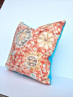 Set of 2 orange and turquoise 18 inch pillow by MsPipersPlace2