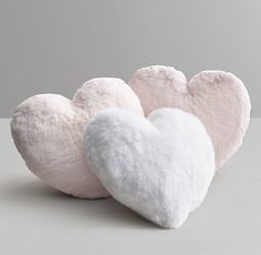 RH Baby & Child's Luxe Faux Fur Heart Pillow:Our loveable heart-shaped pillow is sewn from Pink Pillows, Cute Pillows, Owl Pillows, Burlap Pillows, Cushions, Throw Pillows, Room Ideas Bedroom, Bedroom Decor, Cute Room Decor