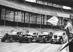 A practice round at the Polo Grounds Speedway in Manhattan, from which the New York Giants had fled to San Francisco just two years before. Photo: Ernest Sisto/The New York Times Polo Grounds, Moving To San Francisco, Sports Stadium, Yankee Stadium, San Jose Sharks, Oakland Athletics, Pittsburgh Penguins, San Francisco Giants, New York Giants