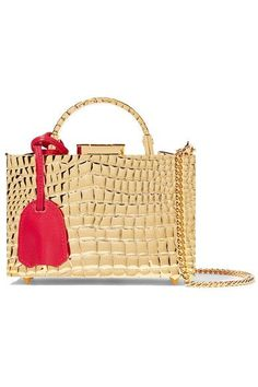 Mark Cross - Grace Mini Croc-effect Gold-plated Shoulder Bag - one size