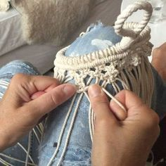 """M """"macrameing"""" a hard knotted basket with dots...accompanied by country #frostadesign #macrame #makrame #handmade #craft"""
