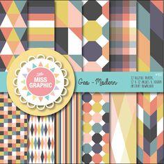 Modern Geometric Digital Paper  DIY by LittleMissGraphic on Etsy, $6.00