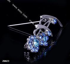4.2x2mm Blue Fashion Sunflower Crystal Breastpin Hair brooch Pin Rhinestone