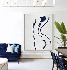 Abstract Nude Painting, Navy Blue Minimalist Art #NV277B by CZ Art Design @CelineZiangArt