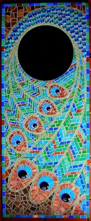 L.A. Mosaic Gifts - handmade mirrors, mosaics and jewellery. Peacock Feather mirror.