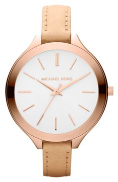 Michael Kors Mid-Size Nude Leather Runway Watch from Michael Kors. Shop more products from Michael Kors on Wanelo. Michael Kors Rose, Michael Kors Jet Set, Michael Kors Watch, Michael Watches, Michael Kors Sneakers, Bracelets Fins, Jewelry Accessories, Fashion Accessories, Gold Jewelry