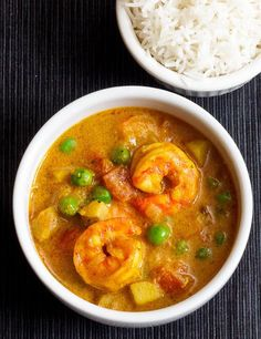 coconut shrimp curry with peas and potatoes. This looks really easy to make yet delicious.