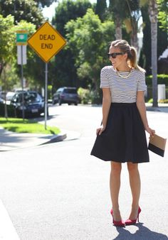 SoleSociety Heels // H&M Skirt {here it is in yellow} // Banana Republic Necklace {similar one here} // Banana Republic Striped Top {similar one here} // Céline Pouch Work Fashion, Fashion 2017, Fashion Outfits, Fashion Trends, Simple Outfits, Cute Outfits, Black Flare Skirt, Weekend Wear, Business Fashion