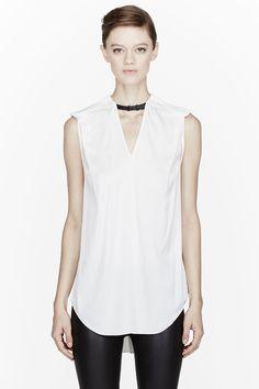 4899d0e75d9e3 3.1 PHILLIP LIM Ivory silk leather harness shell blouse Cotton Style