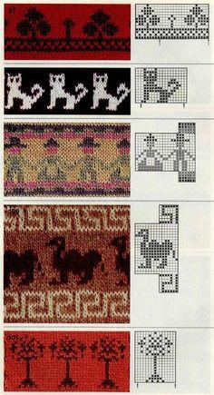 KUFER with artistic handicraft: 1000 jacquard knitting patterns Knitting Charts, Knitting Stitches, Knitting Designs, Knitting Projects, Baby Knitting, Motif Fair Isle, Fair Isle Chart, Fair Isle Pattern, Crochet Chart