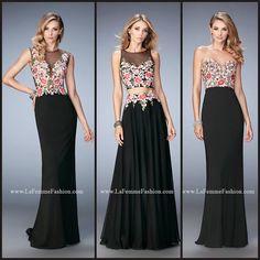 La Femme 22935, 22936, and 22959 long prom dresses - black prom dresses - patterned prom dresses - homecoming dresses - formal dresses - pageant dresses - bridesmaids dresses - jersey dresses - sheer bodice - floral patterned - rhinestone embellished - style inspiration