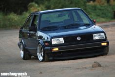MK2 Jetta slammed coupe in perfect black. Solid.
