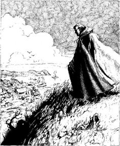 Strahd looms over the village of Mordentshire.  (Jeff Easley, AD&D module I10: Ravenloft II: The House on Gryphon Hill, TSR, 1986.)