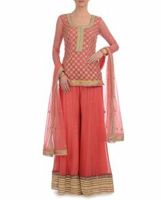 Coral Suit with Sharara Pants