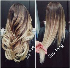 How a bayalage ombre looks from the back when curled, and when its straight. :)