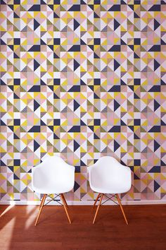 Create a feature wall with this bold and contemporary Geo Mix wallpaper. Ellie Hyde for the Graduate Collection available at The Pattern Collective.