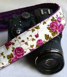 Roses Camera Strap. dSLR Camera Strap. Canon Camera by ChitaDesign, $29.00