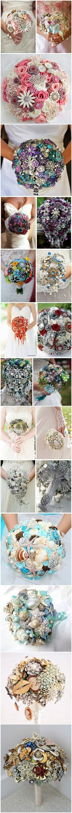TOP 20 Chic Brooch Wedding Bouqueti love the 3rd one down!!