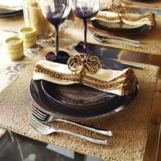 Beaded Placemat - Matte Gold