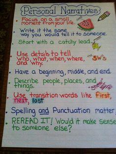 Personal Narrative Anchor Chart....guía para la producción de textos...
