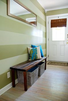 horizontal entryway walls...eyecatching detail@Jackie D'Angelo  make one stripe flat and one stripe glossy!