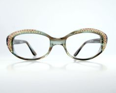 9178387386a Items similar to Rhinestone Oval Cat Eye Eyeglasses Frames Tortoise Frame  France NOS Luxury Designer 50 19 on Etsy