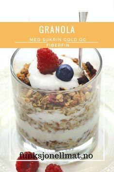 Granola - Funksjonell Mat | Frokost ideer | Sunn frokost | Sukkerfri granola | Sukrin | Nyttig mat | Sunne oppskrifter | God frokost Snacks, Protein, Pudding, Desserts, Food, Fitness, Crafts, Diy, Summer Recipes