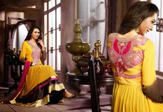 USD 53.94 Karisma Kapoor Yellow Layer Cut Floor Length Anarkali Suit