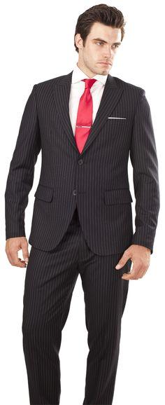 Navy & White Pinstripe suit by www.blackpier.com