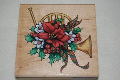 Stampendous Rubber Stamp NEW Retired Christmas Horn Frnch Horn