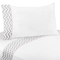 4 pc Queen Sheet Set for Pink and Gray Chevron Bedding Collection by Sweet Jojo Designs by Sweet Jojo Designs