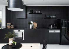 Kitchen Of The Week A Study In Black By Designer Nicole Hollis For Home Pinterest Moroccan Glaze And Steel