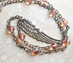 Angel Wing Necklace, Wing Necklace, Pink, Feather Jewelry, Feather Pendant, Beaded Chain, Glass Jewelry, Silver, Long