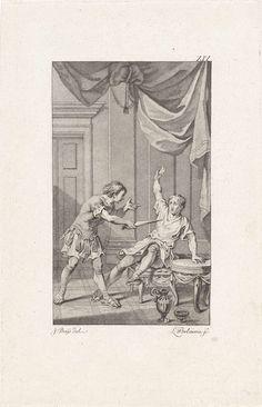 Ludwig Gottlieb Portman   Titus bedreigt Pomponius, Ludwig Gottlieb Portman, 1794   Nadat de mishandelde Titus over het lot van zijn vader Titus Manlius Torquatus hoort gaat hij naar het huis van Pomponius. Als de bedienden het vertrek hebben verlaten bedreigt hij Pomponius met een dolk, waarop laatstgenoemde het vonnis van Manlius intrekt.