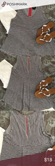 Red, White, and Blue Summer Top Size Small    Super cute high/low, blue and white horizontal striped top with red  accent zipper. Polyester/rayon  ❌sorry no trades. Tops