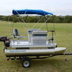 Add the bimini top to your pontoon boat to shade yourself from the sun while you're out on the lake. The canvas top easily collapses and fits into a zippered pouch when not in use. Add the bimini top t Small Pontoon Boats, Fishing Pontoon Boats, Small Fishing Boats, Small Boats, Kayak Fishing, Electric Pontoon Boat, Pontoon Boat Party, Pontoon Boating, Fishing Charters