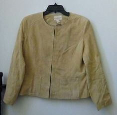 Monterey Bay Petites Size8P Beige Suede Women's Jacket Genuine Leather Washable  #MontereyBay #BasicJacket #Casual