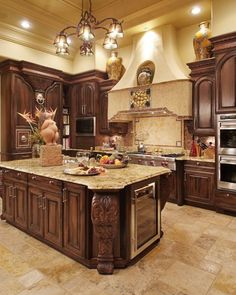 """Ahhh, to have a kitchen that is not like cooking in a box; where we could actually move more than 1 at a time, have personal space for eating and not think, """"what made me cross NICE BIG KITCHEN off my list for buying a house"""" every time I go in there! Tuscan Kitchen Design, Luxury Kitchen Design, Farmhouse Kitchen Decor, Home Decor Kitchen, Country Kitchen, Tuscan Design, Tuscan Style, Kitchen Designs, Kitchen Ideas"""