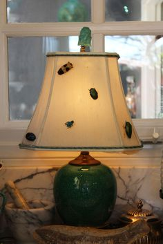Ginger Jar Lamp with Bug Pins on the Shade for a Designer Touch~