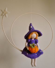 Waldorf inspired needle felted Halloween mobile : Witch with pumpkin and star (made to order)