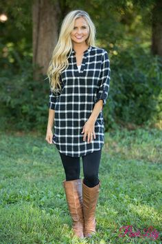 The Pink Lily - No Regrets Black and White Plaid Tunic , $35.00 (https://pinklily.com/no-regrets-black-and-white-plaid-tunic/)