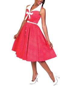 Loving this Malibu Red Polka Dot Button-Front Dress - Women on #zulily! #zulilyfinds