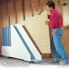 A handy storage rack that lets you get at the plywood sheet you need!