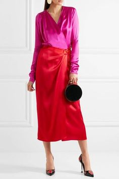 Red and bright-pink satin Ties at side 83% acetate, 17% viscose Dry clean Made in Italy As seen in The EDIT magazine