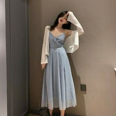 korean style V-neck high waist thin mesh pleated skirt women 2019 summer new sli… - pinpon.site/fashion - - korean style V-neck high waist thin mesh pleated skirt women 2019 summer new sli… Source by Korean Fashion Summer, Korean Fashion Trends, Korean Street Fashion, Korean Outfit Summer, Korean Girl Fashion, Korean Summer, Cute Asian Fashion, Korea Fashion, China Fashion