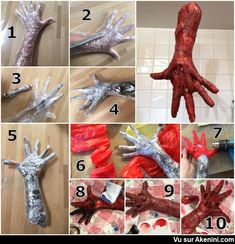 DIY Halloween skinned hands used packing tape, newspapers, red garbage bags, heatgun, acrylic paint and clear glue with red food coloring for blood is part of Halloween props diy - Humour Halloween, Casa Halloween, Scary Halloween Decorations, Halloween Haunted Houses, Outdoor Halloween, Halloween Party Decor, Holidays Halloween, Halloween Crafts, Asylum Halloween