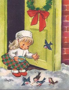 Christmas Greeting Card from Brownie Signed Steffie Girl feeding birds - Christmas Cards Images Vintage, Vintage Christmas Images, Retro Christmas, Vintage Holiday, Christmas Pictures, Christmas Art, Vintage Greeting Cards, Christmas Greeting Cards, Christmas Greetings